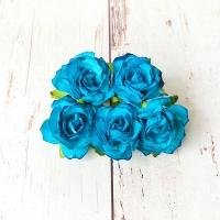 Кудрявые розы Ярко-голубые, 5шт.