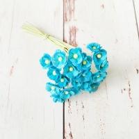 Цветы вишни Ярко-голубые (мини), 10шт.