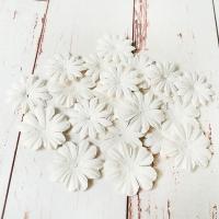Цветы из шелковичной бумаги, Белые, 20шт.