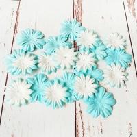Цветы из шелковичной бумаги, Бело-голубые, 20шт.