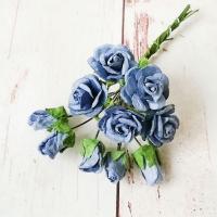 Букет роз и бутонов малберри, Синие, 10шт.