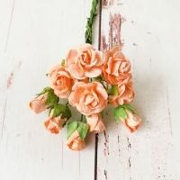 Букет роз и бутонов малберри, Оранжевые, 10шт.