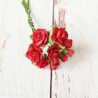 Букет роз малберри и мини-бутонов, Красные, 10шт.