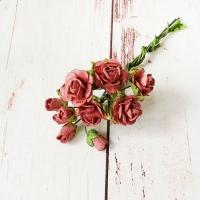 Букет роз малберри и мини-бутонов, Красно-коричневые, 10шт.