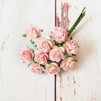 Мини-розы, Розово-жёлтые, 10шт.