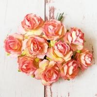 Кудрявые розы, Розово-жёлтые, 10шт.