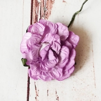 Кудрявая роза из бумаги Сиреневая, 1шт.
