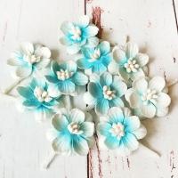 Цветки вишни, Бело-голубые, 10шт.