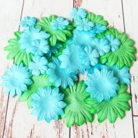 Бумажные цветы, Зелёный-голубой, 30шт.