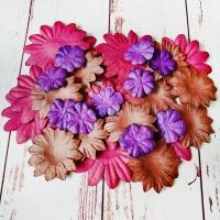 Бумажные цветы, Коричневый-бордовый-фиолетовый, 30шт.
