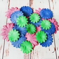 Бумажные цветы, Розовый-синий-зелёный, 30шт.